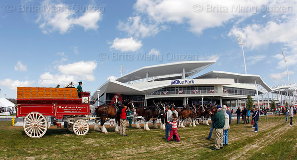 FORT MYERS, FL, March 4, 2012: A team of Budweiser Clydesdales greets Boston Red Sox fans outside JetBlue Park at Fenway South on Opening Day. (Brita Meng Outzen/Boston Red Sox)
