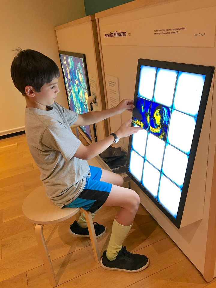 Carson creating a stained glass window