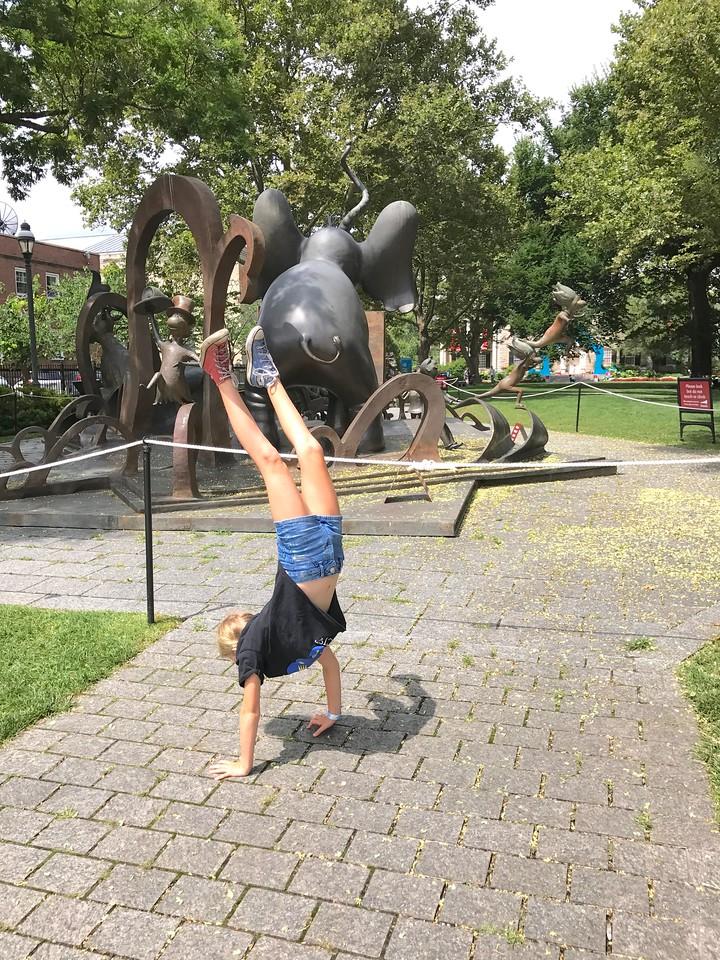 Allegra doing a handstand