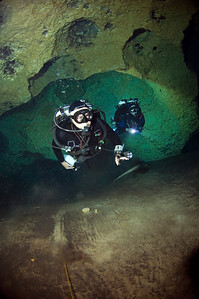 Pioneering deep cave diver Jim Bowden and Liz Hunt enjoy the popular cave at Peacock Springs.