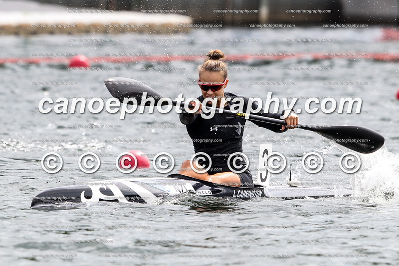Lisa Carrington (NZL) winning the women's K1 200m event at the first ICF Canoe Sprint World Cup in Duisburg, Germany