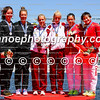 Medalists of the women's K2 500m event (L-R): Aimee Fisher-Caitlin Ryan (NZL), Anna Karasz-Ninetta Vad (HUN), Yu Zhou-Qing Ma (CHN) in Montemor-o-Velho, Portugal at the ICF Canoe Sprint World Cup.