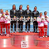 Medalists of the women's K4 500m event (L-R): Poland, New Zealand, Portugal in Montemor-o-Velho, Portugal at the ICF Canoe Sprint World Cup.