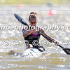 Lisa Carrington (NZL) crossing the finish line first in the final of the women's K1 500m event in Montemor-o-Velho, Portugal at the ICF Canoe Sprint World Cup.