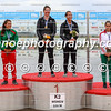 Lisa Carrington and Aimee Fisher (NZL) on the podium winning gold beating the duos of Portugal and Hungary in the K2 500m event at the ICF Canoe Sprint World Cup in Montemor-o-Velho, Portugal.