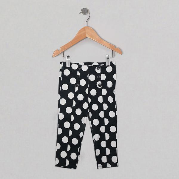 Girls black white Paris pants