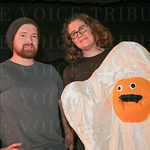 Tony Benzick and Nora Christensen with Eggy of Food Fight.