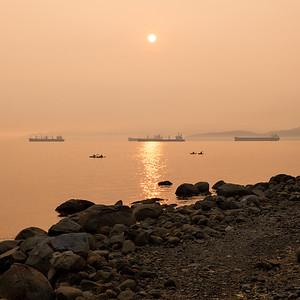 Kayakers in Smoke