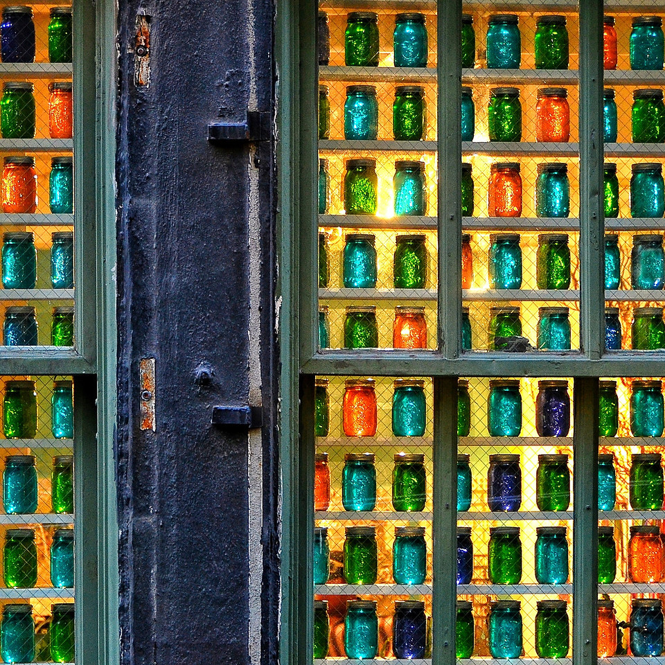 bottles, rows, colors, colorful, glass, window, display