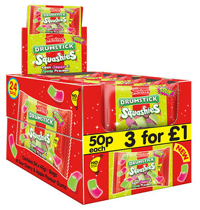 90475 Squashies Drumstick Sour Cherry and Apple 45g 50p SRP