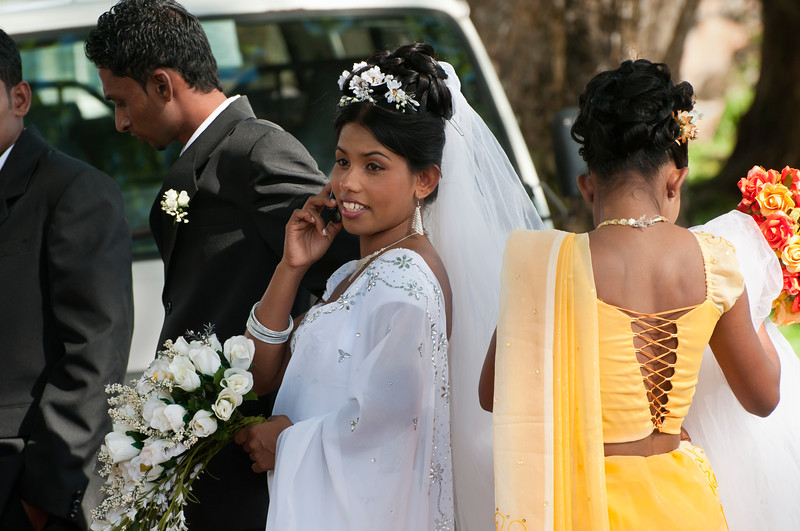 The bride takes a phone call, Galle, Sri Lanka