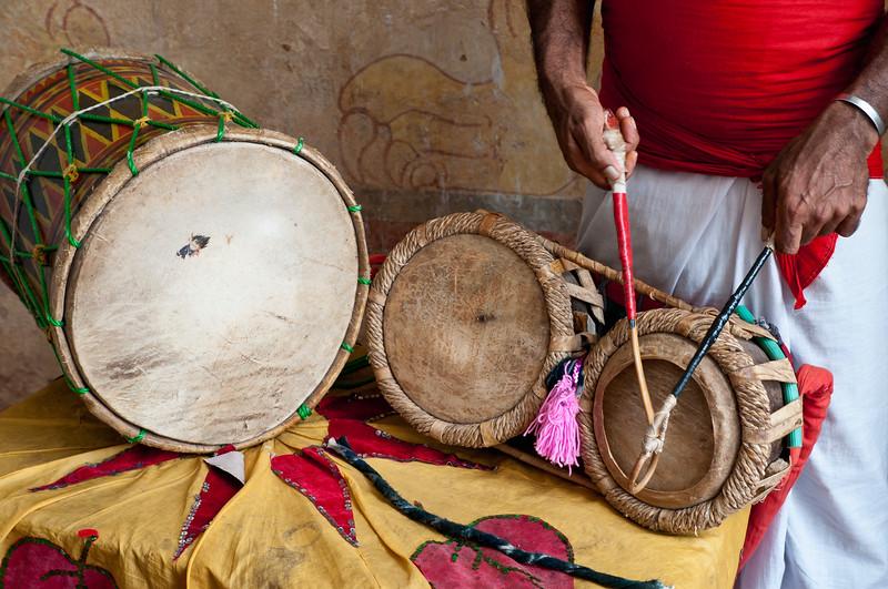 Drumming at Lankatilake Temple, Kandy, Sri Lanka
