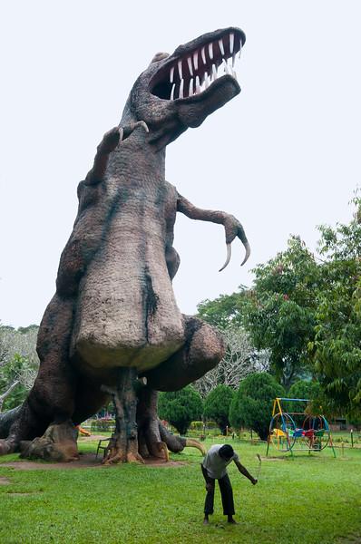 Dinosaur sculpture in a park, Matale, Sri Lanka