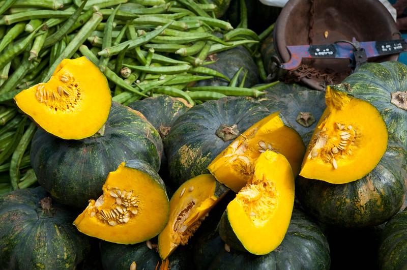 Pumpkins (squash) and okra at the Sunday market, Bandarawela, Sri Lanka