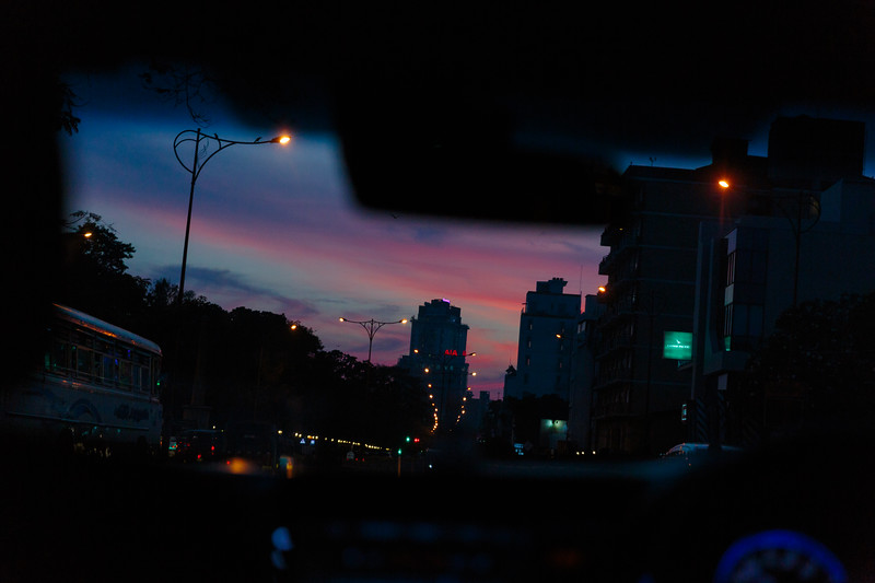 The sunset from the back seat of a car in Colombo Sri Lanka