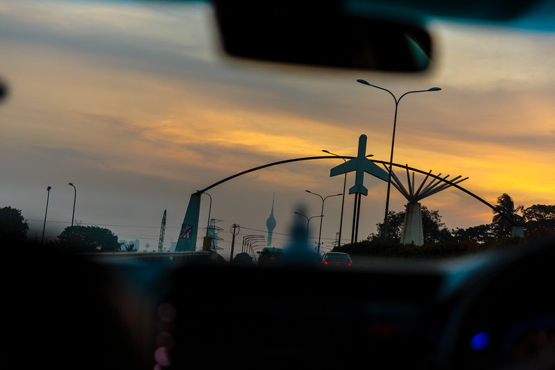 The sunset in Colombo, Sri Lanka, from the back seat of a car
