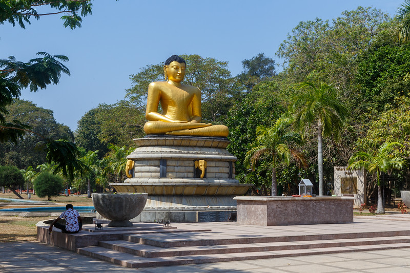 Golden buddha statue in the Viharamahadevi park