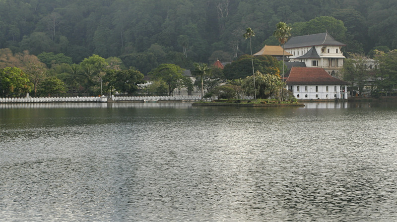 Temple of the Tooth (on the right) - next to the artificial lake in the center of town.