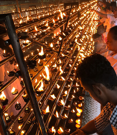 Lighting lamps for Poya, Kelaniya, Sri Lanka, 2018