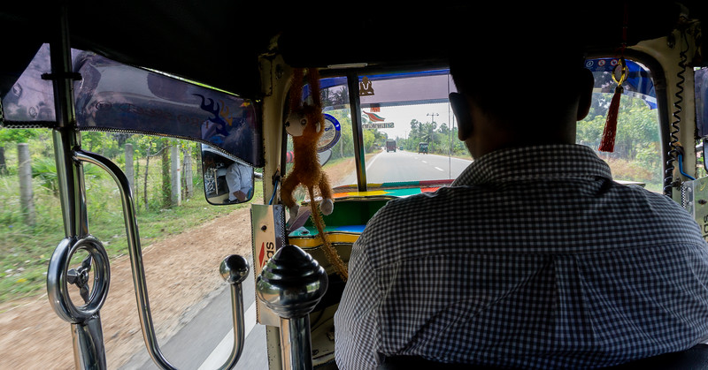 Driving in a Tuktuk towards Elephant Pass, Jaffna, 2018