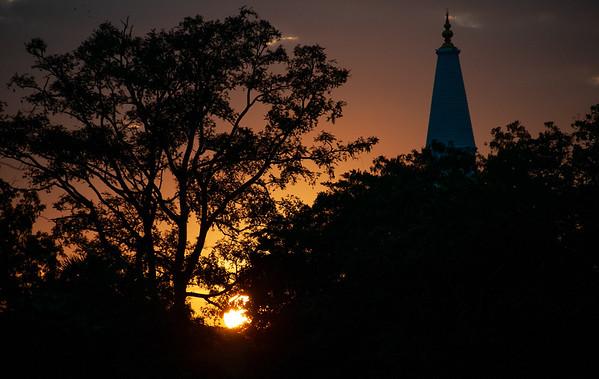 Sunset behind Ruwanwelisaya, Anuradhapura, Sri Lanka 2013
