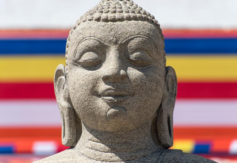 Buddhist Flag and Buddha Statue
