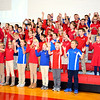 Members of the Intermediate classes at St. Anthony Grade school sing to veterans Friday morning during their Veterans Day program held in Goff gymnasium. Charles Mills photo