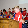 Dylan Hamilton addresses the audience during the St. Anthony Grade School Veterans Day program. Charles Mills photo