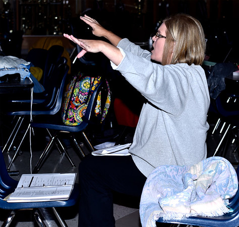 "Co-director Nikki Quandt coaches cast members during a recent rehearsal of ""Disney's Beauty and the Beast"" to be held next weekend in the St. Anthony High School multipurpose room. Charles Mills photo"