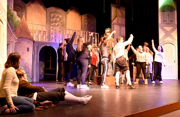 "Cast members of St. Anthony High School and SAMBA rehearse for their production of ""Disney's Beauty and the Beast"" to be held in the high school multipurpose room on Nov. 10, 11 and 12. Charles Mills photo"