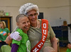 HOLLY PELCZYNSKI - BENNINGTON BANNER Nancy Diaferio, of Manchester smiles after having her head shaved to raise money for The St. Baldrick's Foundation on Wednesday morning at Manchester Elementary school.