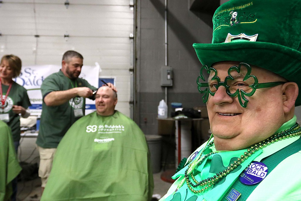 . The 16th annual St. Baldrick\'s fundraiser was held by the Pepperell Fire Department on Wednesday night, March 14, 2018. Phil Durno was festively dressed as he volunteered for the 16th year at the event. SENTINEL & ENTERPRISE/JOHN LOVE