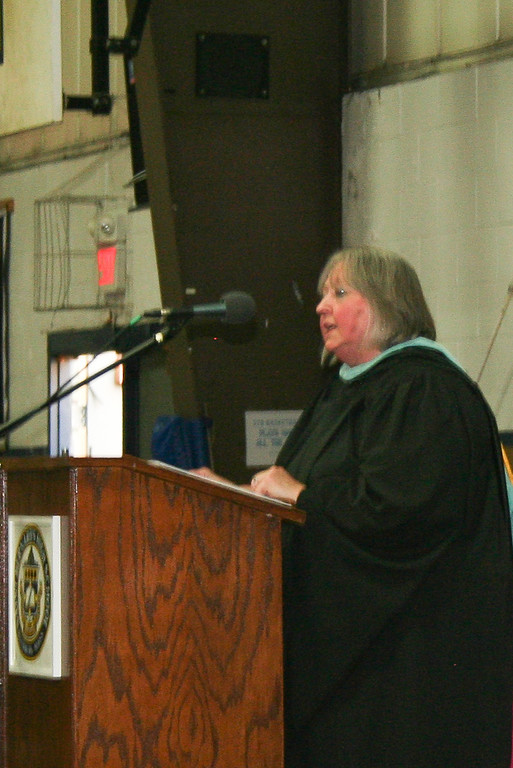 . Kathleen Boudreau was selected as the teacher of the year and gave the Commencement address during St. Bernard\'s Central Catholic High School\'s graduation ceremony on Friday night. Boudreau teaches English at St. Bernard\'s CCHS. SENTINEL & ENTERPRISE/JULIA SARCINELLI