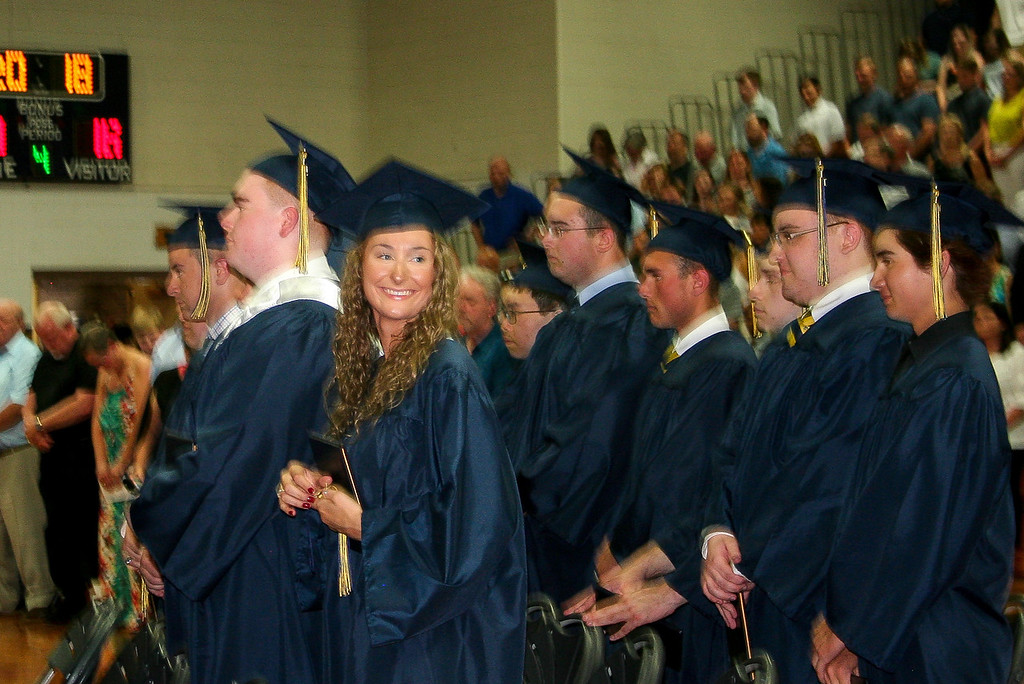 . A member of St. Bernard\'s Central Catholic High School\'s Class of 2018 looks out to her family and friends in the audience. SENTINEL & ENTERPRISE/JULIA SARCINELLI