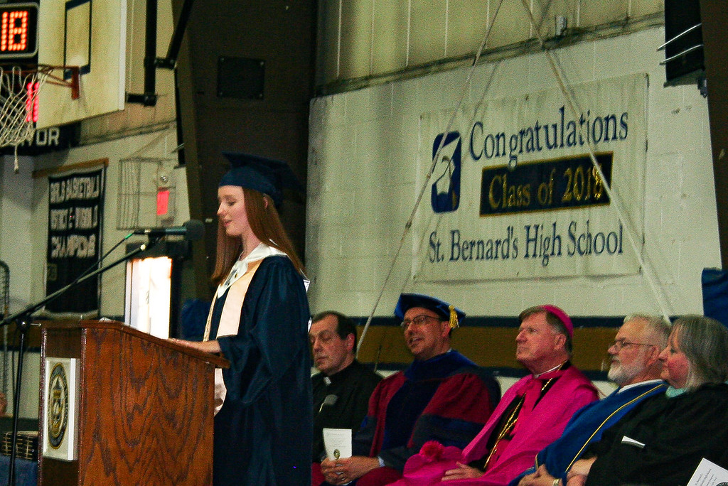 . St. Bernard\'s Central Catholic High School\'s Class President Tara Keating speaks to the Class of 2018 during commencement on Friday night. SENTINEL & ENTERPRISE/JULIA SARCINELLI