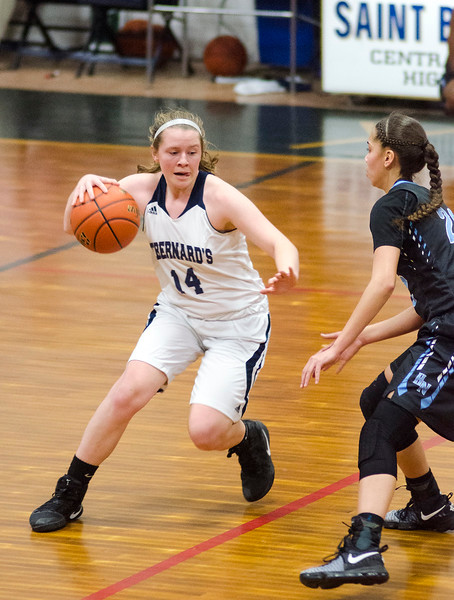 St. Bernard's Brittany Gibbons in action during the game against Holy Name on Thursday evening. SENTINEL & ENTERPRISE / Ashley Green
