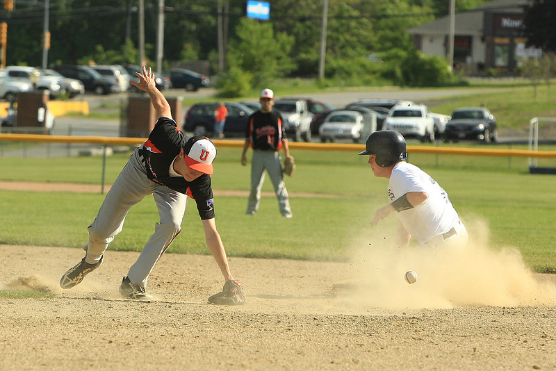 St B's Cooper Bigelow gets into 2nd safely but the 2nd baseman missed the bad throw and Bigelow gets to 3rd safely