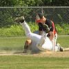 St B's Aaron Robichaud goes back into 3rd base and was called out