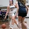 St. Bernard's Central Catholic High School girls basketball Lowell Catholic High School Friday, Feb. 7, 2020 in Fitchburg. St. B's #11 Brooke Senatore and LCHS's #22 Charlotte Morey. SENTINEL & ENTERPRISE/JOHN LOVE