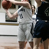 St. Bernard's Central Catholic High School girls basketball Lowell Catholic High School Friday, Feb. 7, 2020 in Fitchburg. St. B's #11 Brooke Senatore puts up a shot while covered by LCHS's #4 Emily Bartlett. SENTINEL & ENTERPRISE/JOHN LOVE