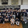 St. Bernard's basketball played Hudson High School on Thursday night, February 14, 2019. At half time during the game the schools football team unveiled their Division VIII State Champions 2018 banner. The team posed for a picture under it after the unveiling. SENTINEL & ENTERPRISE/JOHN LOVE