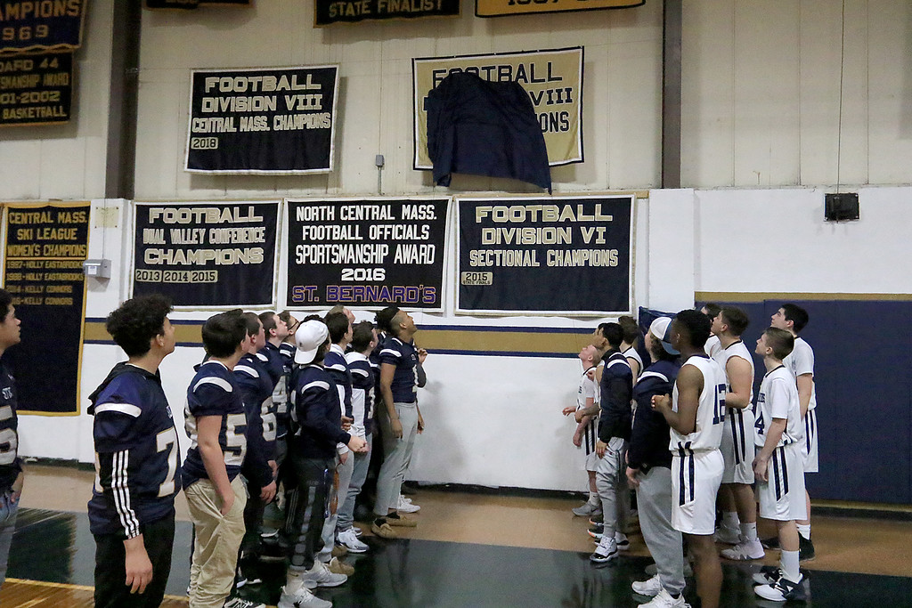 . St. Bernard\'s basketball played Hudson High School on Thursday night, February 14, 2019. At half time during the game the schools football team unveiled their Division VIII State Champions 2018 banner. SENTINEL & ENTERPRISE/JOHN LOVE