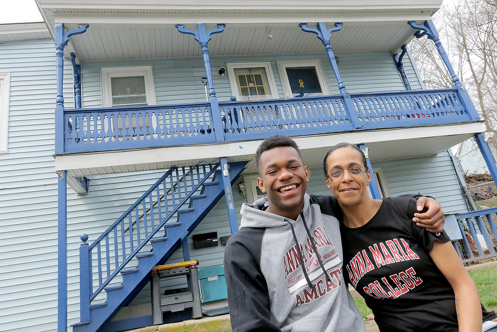 . Jakai Alexandre, 17, and his mom Heidi Beaulac at their home in Fitchburg on Friday, April 19, 2019. SENTINEL & ENTERPRISE/JOHN LOVE