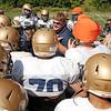 St. Bernard's High School Head Football Coach Tom Bingham talks to his players during practice on Thursday morning.  SENTINEL & ENTERPRISE/JOHN LOVE