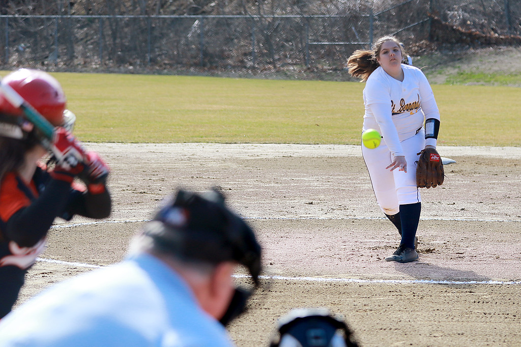 . St. Bernard\'s High School softball played Advanced Math And Science Academy Charter School in Fitchburg Thursday, April 11, 2019. St. B\'s pitcher Rebecca Thibaudeau winds up and delivers a pitch during action in the game. Advanced Math won, 4-3 in eight innings. SENTINEL & ENTERPRISE/JOHN LOVE