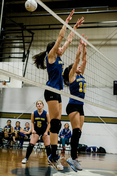 Monty Tech's #7 Colleen Fitzgerald and #15 Jessy Silvera in action against St. Bernard's on Wednesday afternoon. SENTINEL & ENTERPRISE / Ashley Green