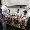 St. Bernard's Central Catholic High School boys basketball played Holy Name High School on Thursday night, Jan. 2, 2020 at ST. B's Activity Center. Players listen to Head Coach Paul Constantino during a timeout. SENTINEL & ENTERPRISE/JOHN LOVE