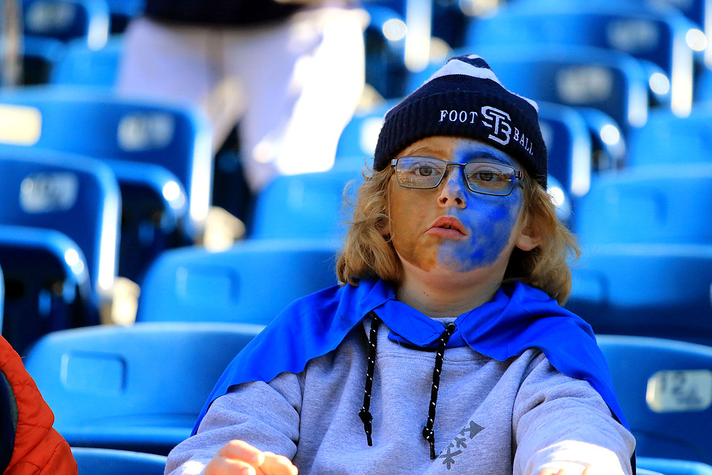 . St. Bernard�s played Pope John XXIII at Gillette Stadium in Foxborough on Saturday morning, December 1, 2018 for the Division 8 state final game. This young fan painted her face in the St. B\'s colors. SENTINEL & ENTERPRISE/JOHN LOVE