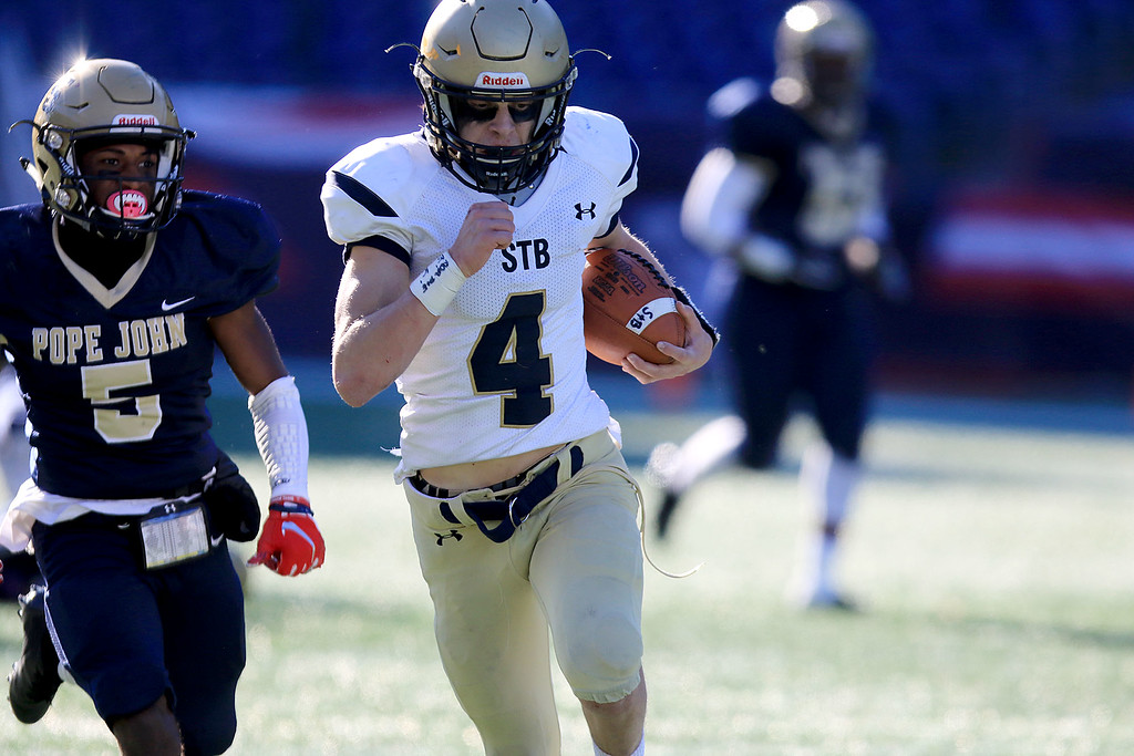 . St. Bernard�s played Pope John XXIII at Gillette Stadium in Foxborough on Saturday morning, December 1, 2018 for the Division 8 state final game. St. B\'s Domenic Valera finds some running room during action in the game. SENTINEL & ENTERPRISE/JOHN LOVE