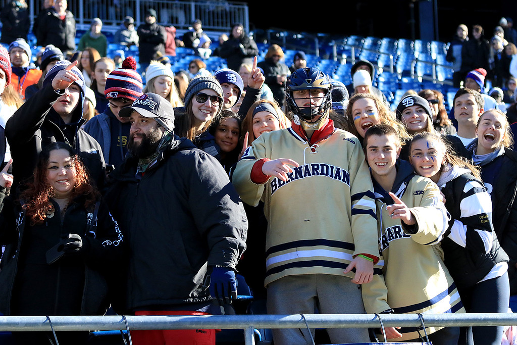 . St. Bernard�s played Pope John XXIII at Gillette Stadium in Foxborough on Saturday morning, December 1, 2018 for the Division 8 state final game. St. B\'s fans celebrate during the game. SENTINEL & ENTERPRISE/JOHN LOVE